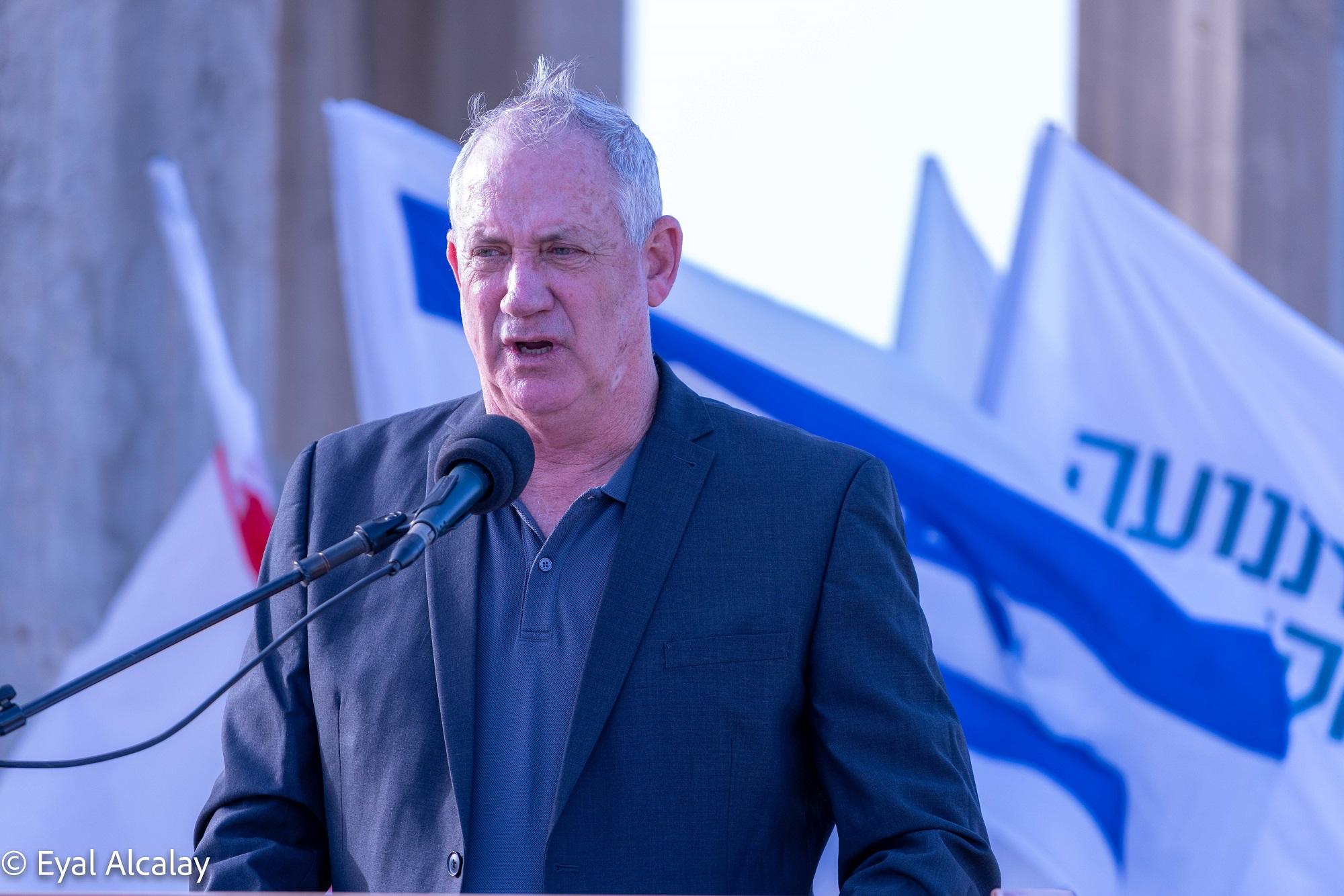 שר הביטחון גנץ נואם בטקס ההתייחדות השנתי. צילום: אייל אלקלעי