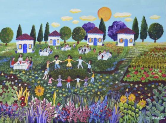 קהילה קיבוצית במיטבה - ציור של גליה רון