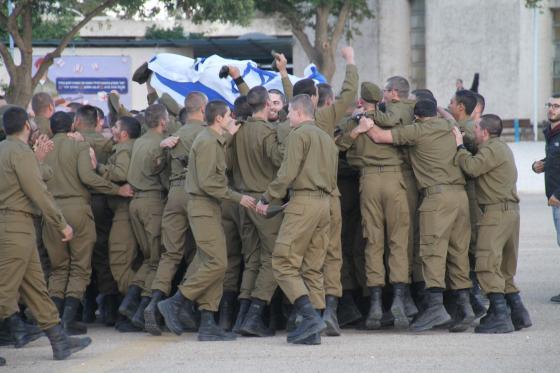 """החיילים לאחר טקס סיום קורס """"מולדת"""" במחו""""ה אלון"""